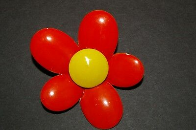 Vintage Enamel Flower Brooch Pin Bright Orange and Yellow Bridal Bouquets