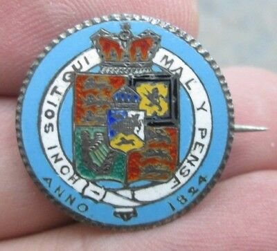 1824 Great Britain George III Silver Shilling Enameled Love Token Pin No Reserve