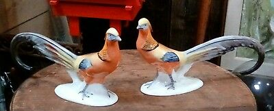 Pair Of Antique Vintage Painted Porcelain Pheasants Czechoslovakian