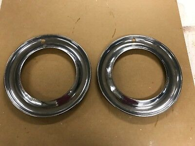 """(2) 15"""" Chrome Beauty Trim Rings Hubcaps 1940's 1950's Style"""
