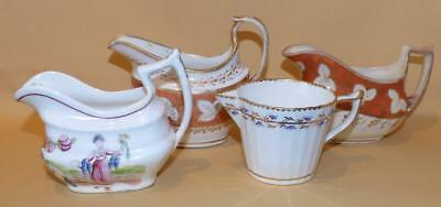 4 Early Jugs Derby John & Thomas Rose Coalport & Staffordshire C1790-1820