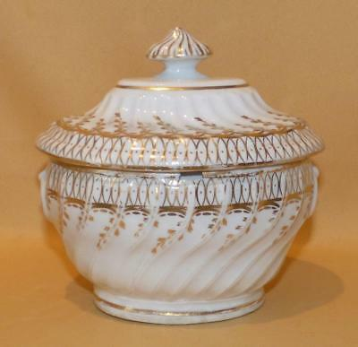 Chamberlain Worcester Spiral Fluted Pattern 55 Sugar Box C1795-1800