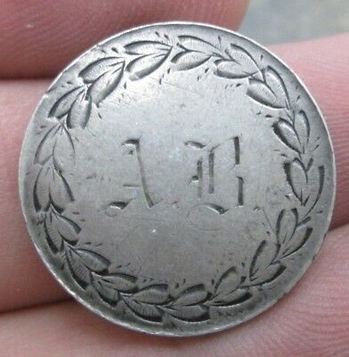1853 Liberty Seated Silver Quarter Letters AB Love Token No Reserve