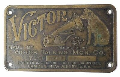 Victor II Talking Machine Phonograph ID Nameplate Tag Plate Vic. II