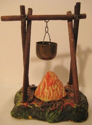 Old German Composition Campfire w/ Kettle Pot over Flame - Western Indian Cowboy