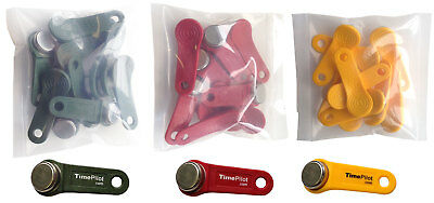 Keytabs/iButtons for Job Site Time Clock- Qty 30 (Red-Green-Yellow)