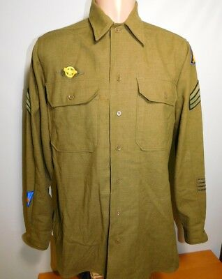 Vintage WWII WW2 1943 US Army Special Patches Shirt Jacket sz Large