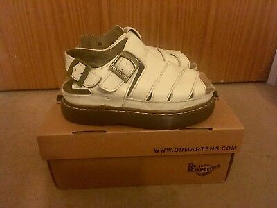 Vintage White Dr Martens Dune Sandals Size 5, 90s Grunge, Leather, Chunky