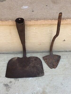2 Antique Vintage Farm Garden Hoe Heads, Great Decor or Repurpose