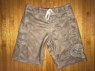 7af718951b Vintage Billabong Andy Irons Rising Sun Board Shorts Sz 33 Plaid Ai Forever  Red