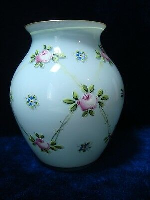 A Vintage Glass Vase Decorated With 'roses', Signed.