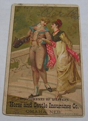 Victorian Trade Card, Western Horse & Cattle Insurance Co., Omaha, Neb.