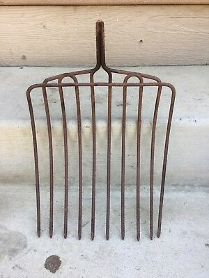 Old Vintage Cast Iron Pitch Fork Head Rustic Primitive 10 Tine Garden Farm Tool