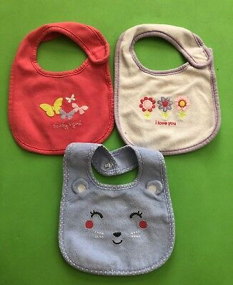 Lot Of 3 GUC Carter's Bibs For Your Baby Girl