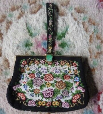 Stunning Antique Micro Petit Point Evening Bag with Jade Clasp, Purse & comb