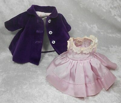 Vintage 1950's Madame Alexander Kins Purple Velvet Coat and Lavender Dress WOW!!