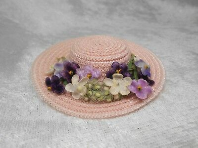 Vintage Madame Alexander Kins Hat with Purple Flowers for Velvet Coat Outfit WOW