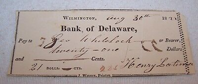Fine Dated 1822 Bank Check - Bank of Delaware - Cabinetmaker George Whitelock