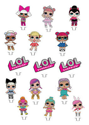 LOL Surprise Doll Stand Up Cake/Cupcake Toppers, Edible, Children's Birthday