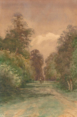 Alfred T. Newby (fl.1885-1890)  - Watercolour, Figures in a Woodland Clearing