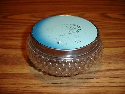 Vintage Bubble Glass Powder Dresser Jar W/glass Mirror Cover - Pre-Owned