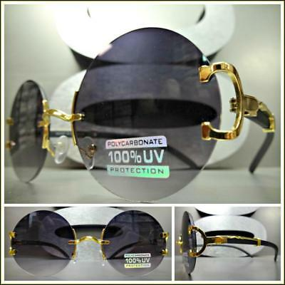 aa9015a986 Men Classy Sophisticated Elegant Retro Style SUN GLASSES Round Gold   Wood  Frame