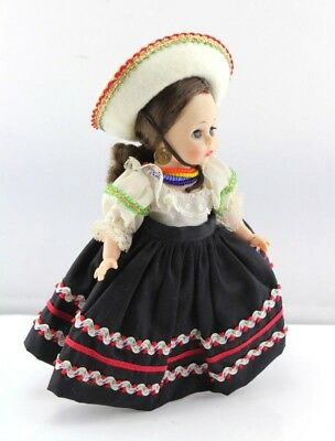 """Madame Alexander 7.5"""" Mexican Doll W/ Hat Necklaces Earrings Made In Usa- #2418"""