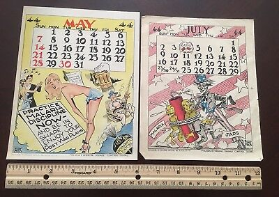 Vintage 1944 Malaria And Disease Epidemic Calendar Pages Pin-Up Girl Japan