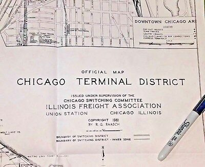 ILLINOIS FREIGHT Chicago Terminal Dist OFFICIAL MAP 1961 Raasch SWITCHNG COMMITE
