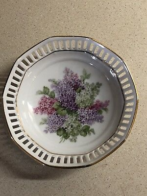 "Vintage Schumann Arzburg Germany Reticulated Candy 5"" Dish Pierced Lilacs VGC"