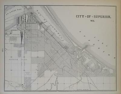 1900 Superior, Wisconsin Antique Atlas map** Milwaukee map on back. 119 yrs-old!