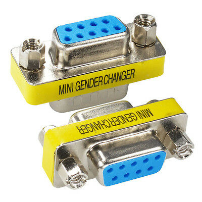 2-Pack P9 Pin RS-232 DB9 Female to Female Serial Cable Gender Changer Adapter