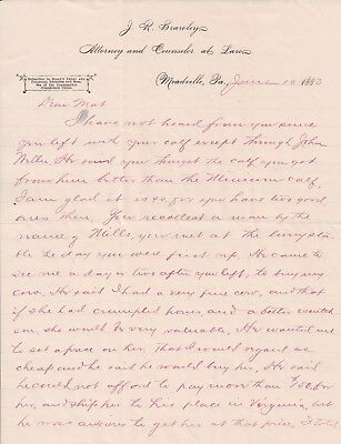 1883 Letter re Founding of Glenwood Springs, Colorado (Defiance Mining Camp)