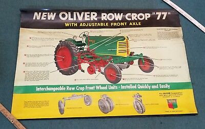 """Original OLIVER Tractor New Row Crop 77 Advertising Poster Sign  40"""" X 27"""""""