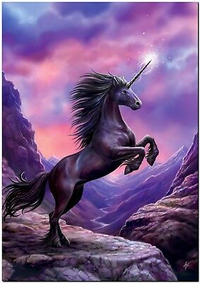 Beautiful Black Unicorn Rearing Horse Canvas Print Poster 18X12""