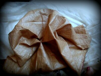 RARE ANTIQUE VICTORIAN CRISP SHEER POLISHED COTTON FABRIC LINING 1800s 19th DOLL