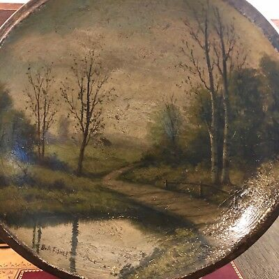 Signed KNOWN ARTIST D A FISHER Antique Painted Wood Bowl Portland ME NH MA