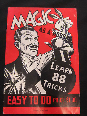 Vintage MAGIC AS A HOBBY, 88 TRICKS TO LEARN, Magician Philip Morris Costumes