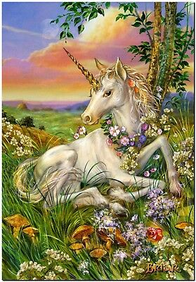 Beautiful Unicorn foal in flowers Canvas Print Poster 18X12""
