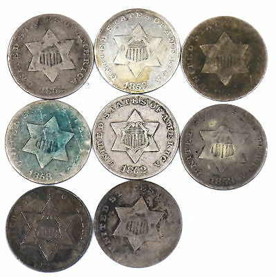 1852-1861 Three Cent 90% Silver Us Collectible Coin Lot Of 8 G-F Condition