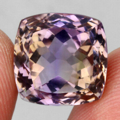 Clean 16.79ct. 14mm. Cushion 100%natural Top Bi Colors Purple Yellow Ametrine