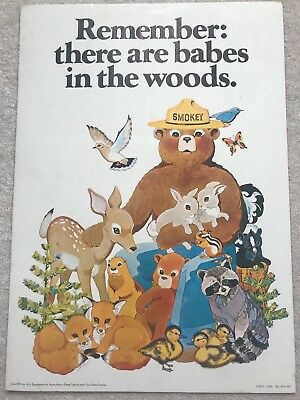 ORIGINAL VINTAGE 1972 SMOKEY BEAR USFS FOREST FIRE PREVENTION POSTER Excellent