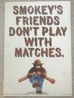 ORIGINAL VINTAGE 1969 SMOKEY BEAR USFS FOREST FIRE PREVENTION POSTER Excellent