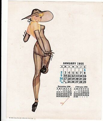PETTY - JAN  1955  art illustrated  PIN-UP/CHEESECAKE  model  CALENDER  page