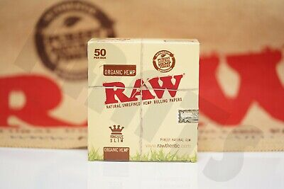Full Box 50 Packs Of Authentic Raw Rolling Paper Organic Hemp King Size Slim