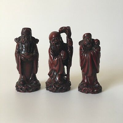 Chinese Burgundy Old Wise man Statue Red Boxwood Resin Vintage 3 Pcs Set