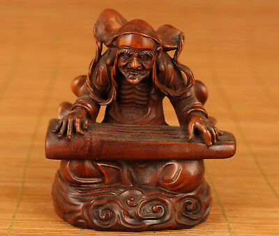 Rare Chinese Old Boxwood Hand Carved Buddha Play the zither Statue Figure Deco