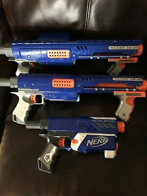 Lot of 2 Nerf N-Strike Raider CS-35 Dart Guns + More