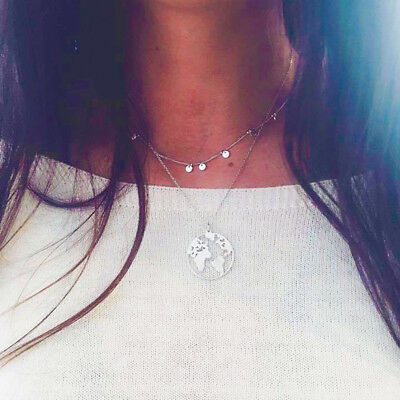 UK PLANET EARTH DOUBLE LAYER NECKLACE World Map Globe Travel Jewellery Gift Idea