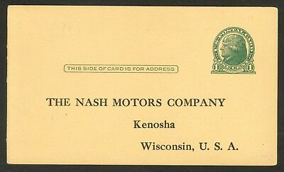 USA 1914-16 1c Jefferson POSTAL CARD Sc UX27 w NASH MOTOR CO Kenosh WISCONSIN